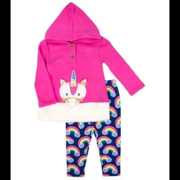 7101d581 Nannette Pink Unicorn Hoodie & Rainbow Legging Set Boutique